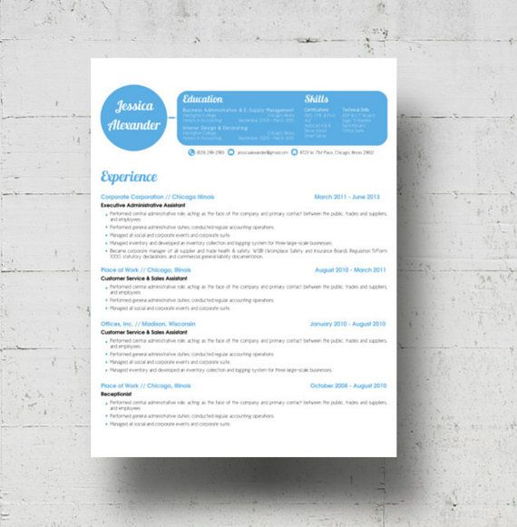 Looking for a professional resume template? The Jessica Alexander - resume header template