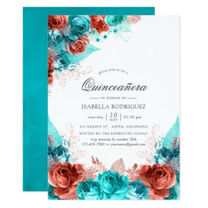 Turquoise and Coral Rustic Floral Quinceañera Invitation | Zazzle.com #turquoisecoralweddings