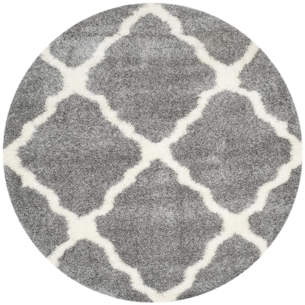Safavieh Montreal Shag Gray Ivory 7 Ft X 7 Ft Round Area Rug In