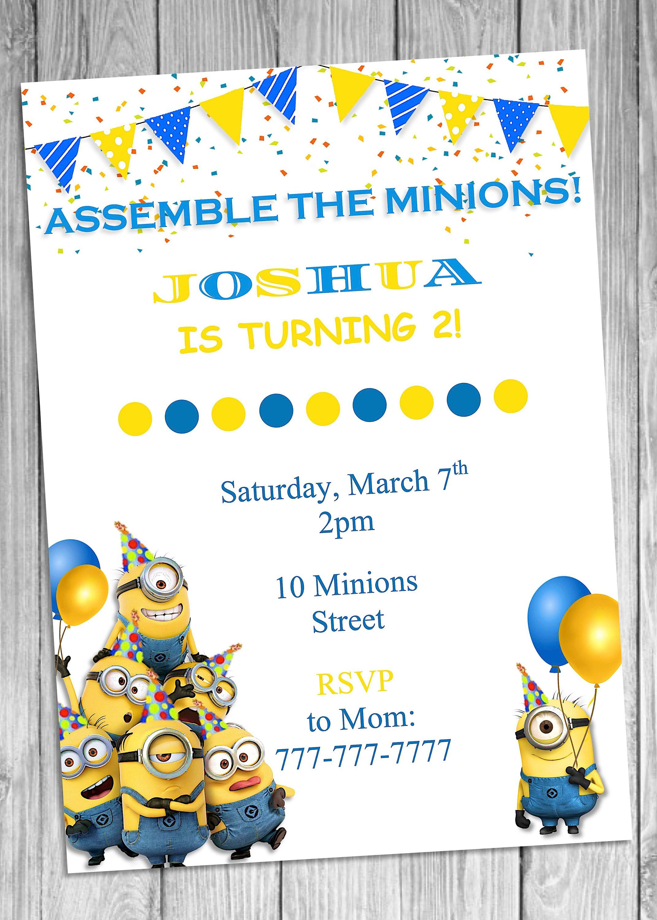 Minions Birthday Invitation, Minions, Invitation | Minion birthday ...
