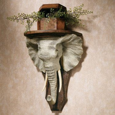 Elephant wall shelf shelves walls and safari bedroom African elephant home decor