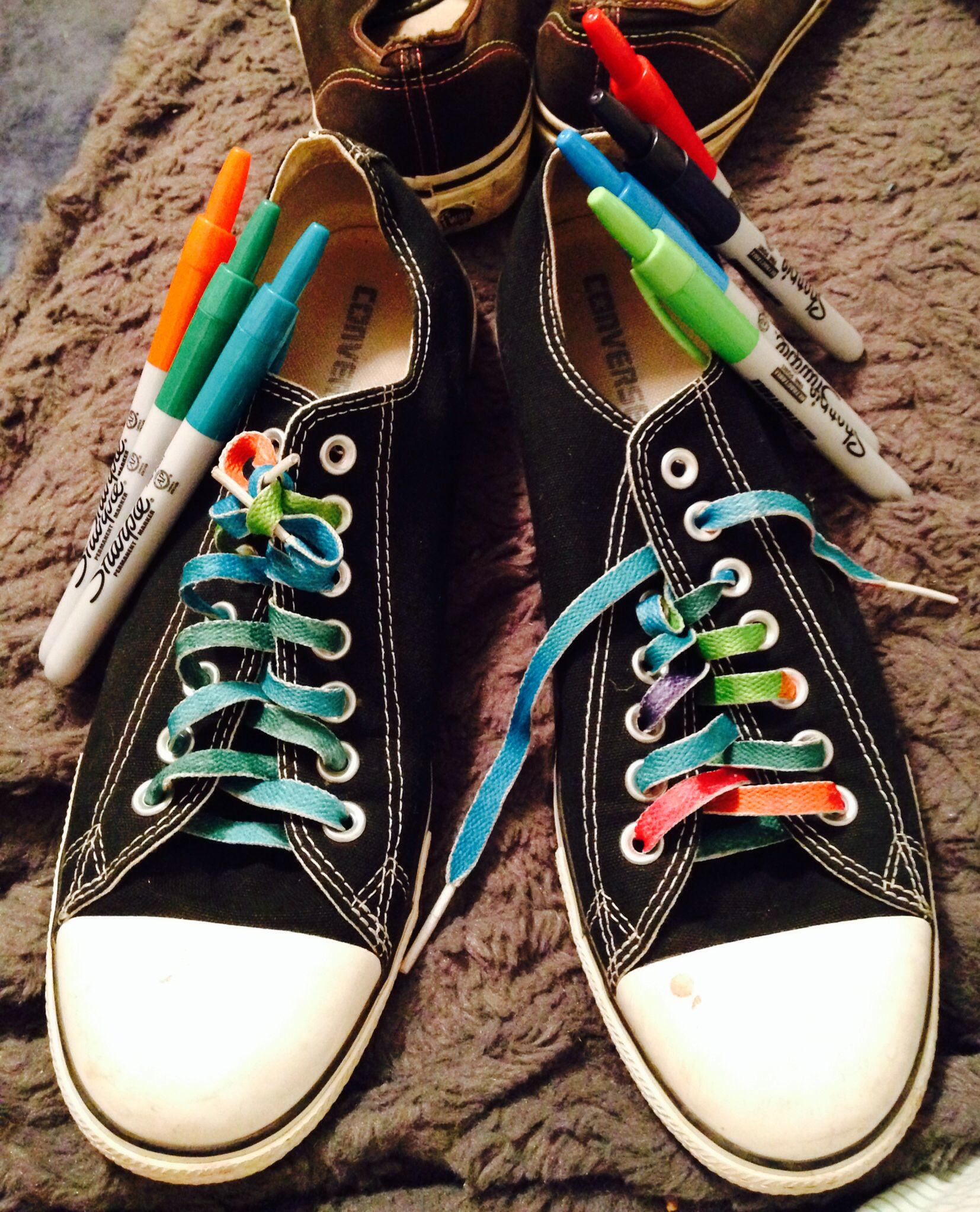 Sharpie, old shoe laces (you can use any shoe laces
