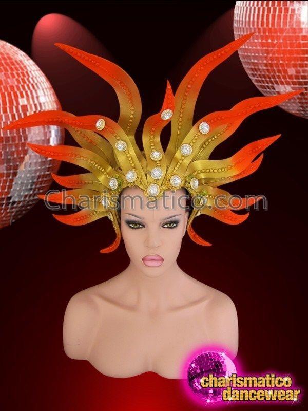 73bb466fbd4b CHARISMATICO Diva Drag Queen Orange Tipped Golden Yellow Sun Goddess  Headdress #CHARISMATICO