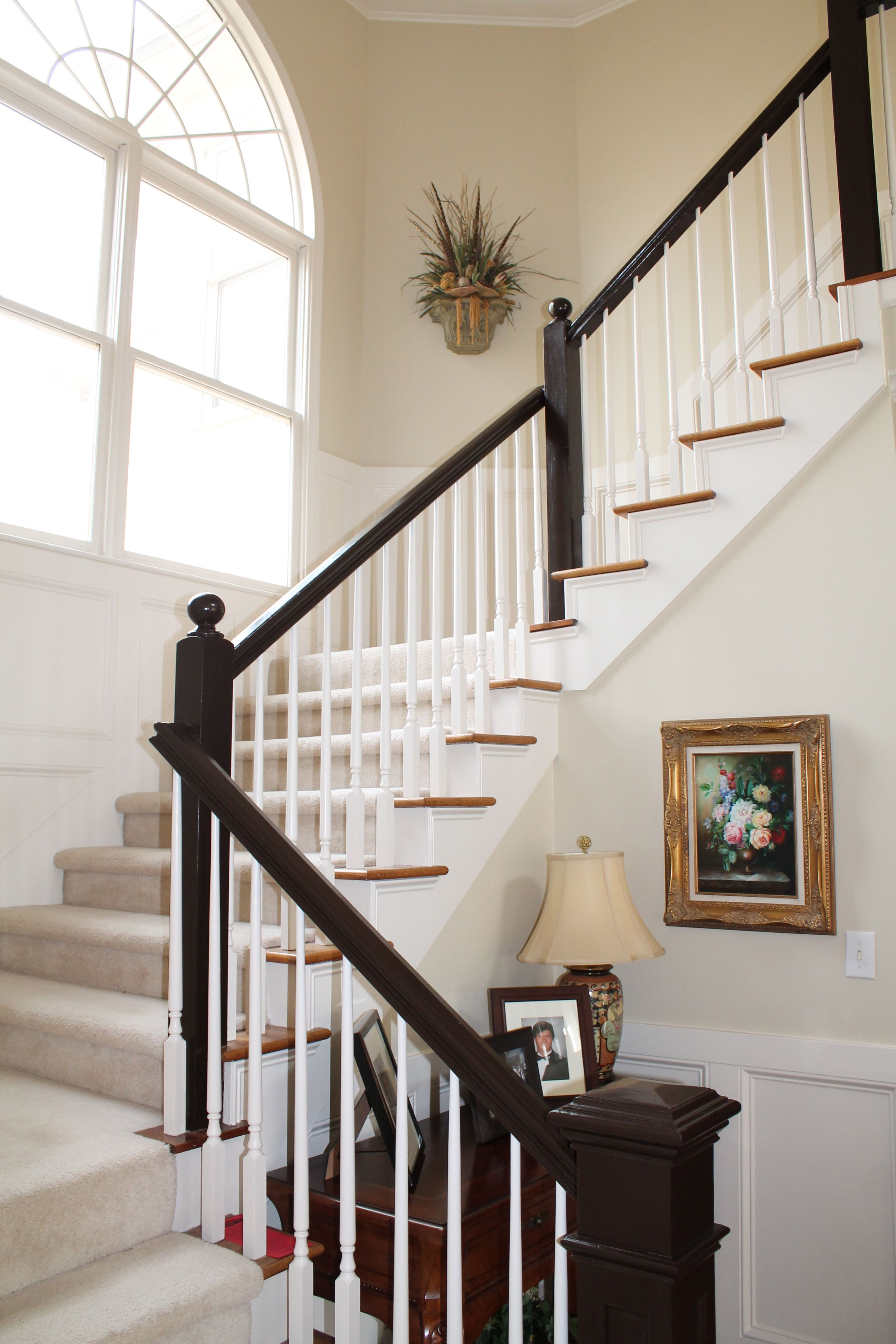 After Sherwin Williams Black Bean Black And White Stairs | Painted Black Stair Railing | Carpet | High Gloss | Wall Both Side | Step | Colour Combination