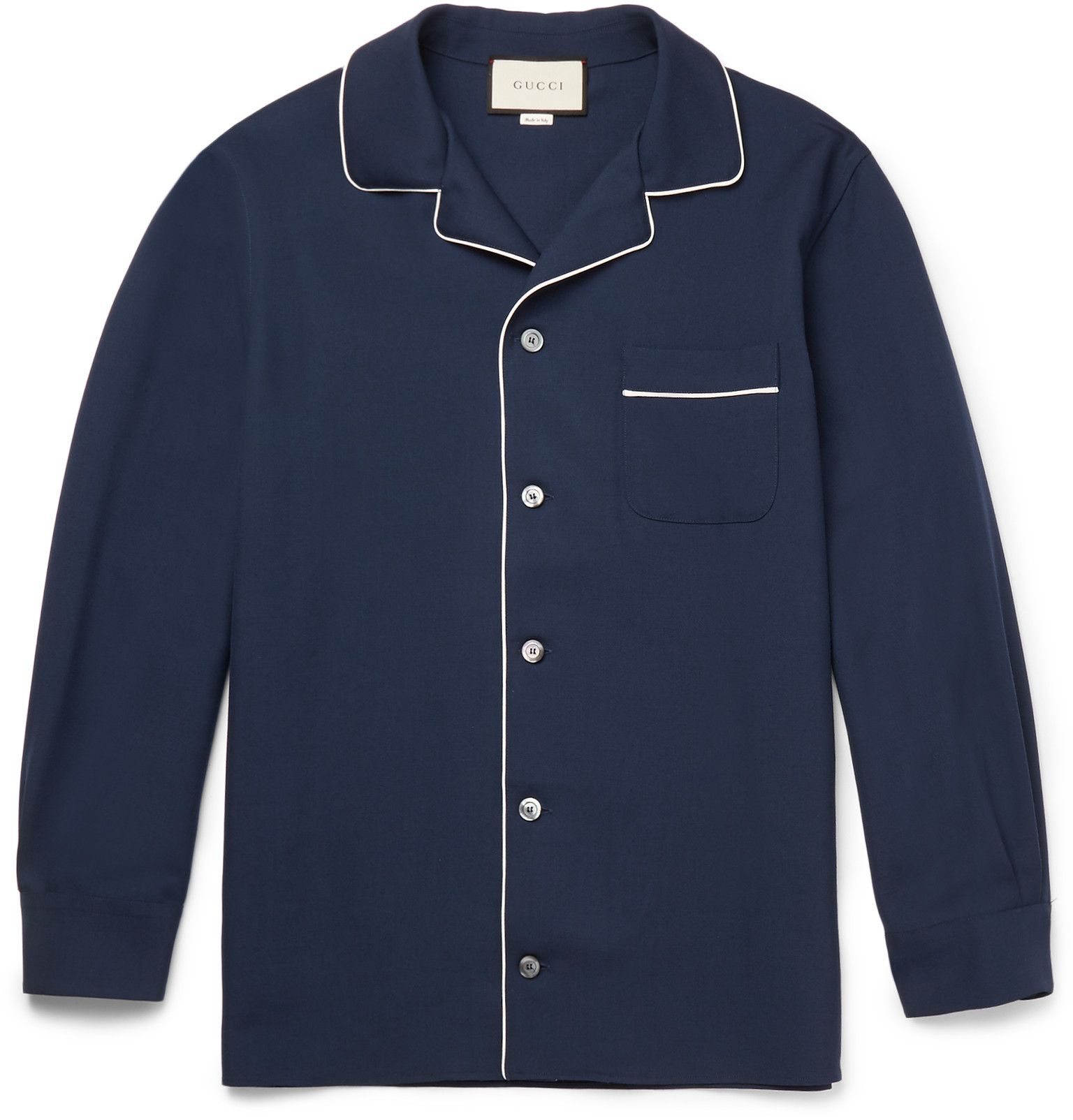 GUCCI Camp-Collar Contrast-Trimmed Wool And Mohair-Blend Twill Shirt