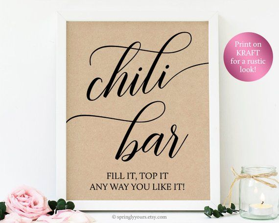 Chili Bar Sign 1st First Birthday Party Decorations Girl Boy, Lumberjack Baby Shower Printable Signs Decor Baby Shower Food Signs Printable #chilibar