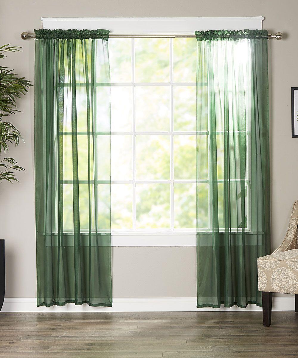 Hunter Green Derin Sheer Curtain Panel Set Of Two
