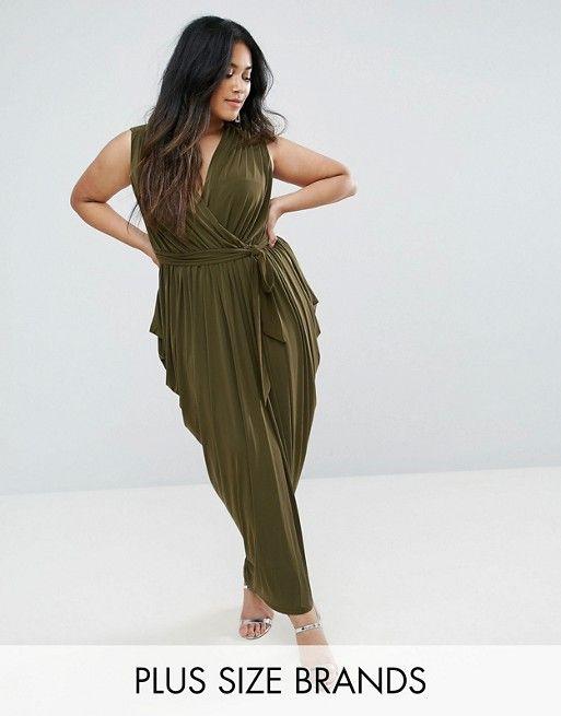Club L Plus Size Waterfall Drape Detail Maxi Dress ...