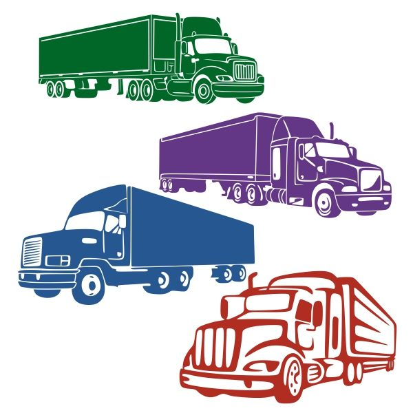 18 Wheeler Truck Cuttable Design Cut File Vector Clipart