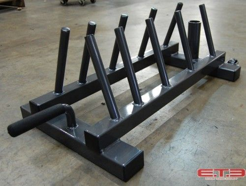 horizontal bumper plate rack with one bar holder holds 2 plates each 45 lb
