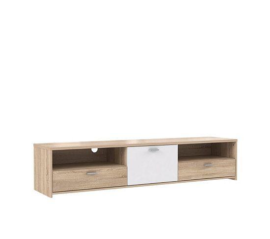 Meuble TV 1 porte  2 tiroirs REO Chêne  blanc - meuble de rangement avec tiroir