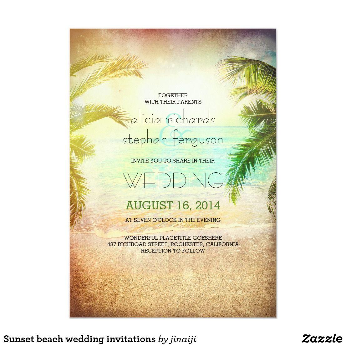 Sunset beach wedding invitations | Rustic Wedding Invitations ...