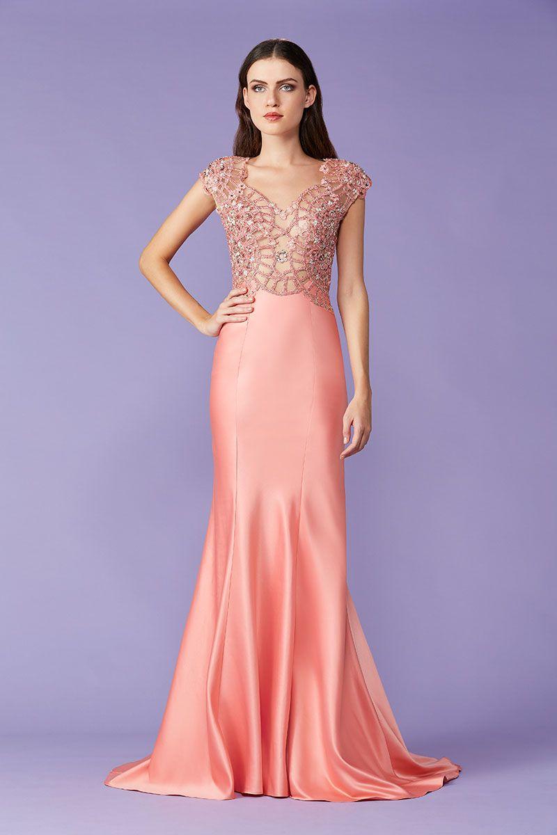 Magnífico Vestido De Coral Para La Boda Patrón - Vestido de Novia ...