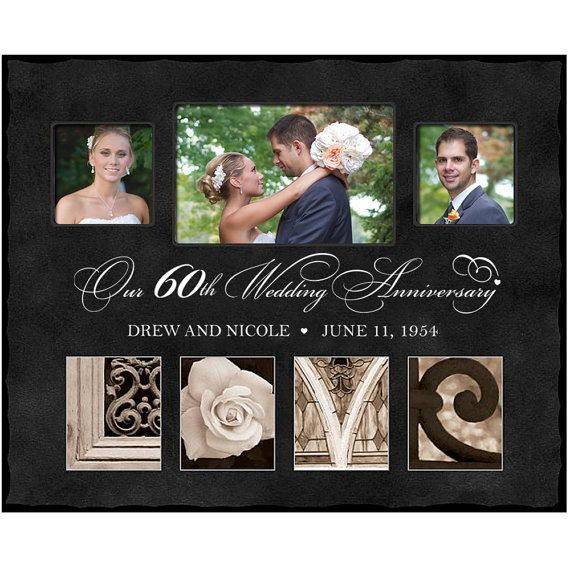 60th anniversary Picture Frame Personalized with Couples Name and ...