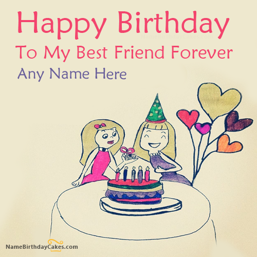Write Name On Birthday Wish For Best Friend Picture Hbd Cake