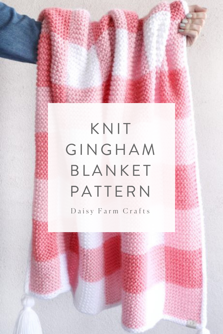Photo of Free Pattern – Pink Knit Gingham Blanket – Stricken ist so einfach wie 1, 2, 3 D…