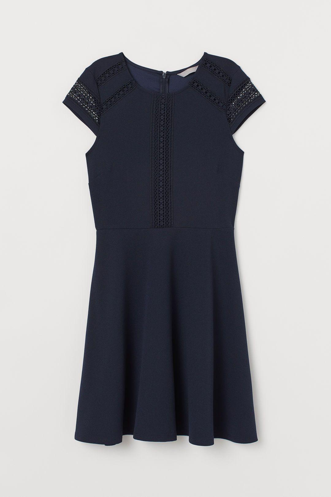 Kleid mit Spitzeneinsätzen  Kleider, Dunkelblaues kleid, Lässige