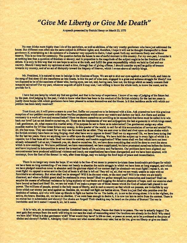 Patrick Henry's Speech - Read the whole speech. It is beautiful ...