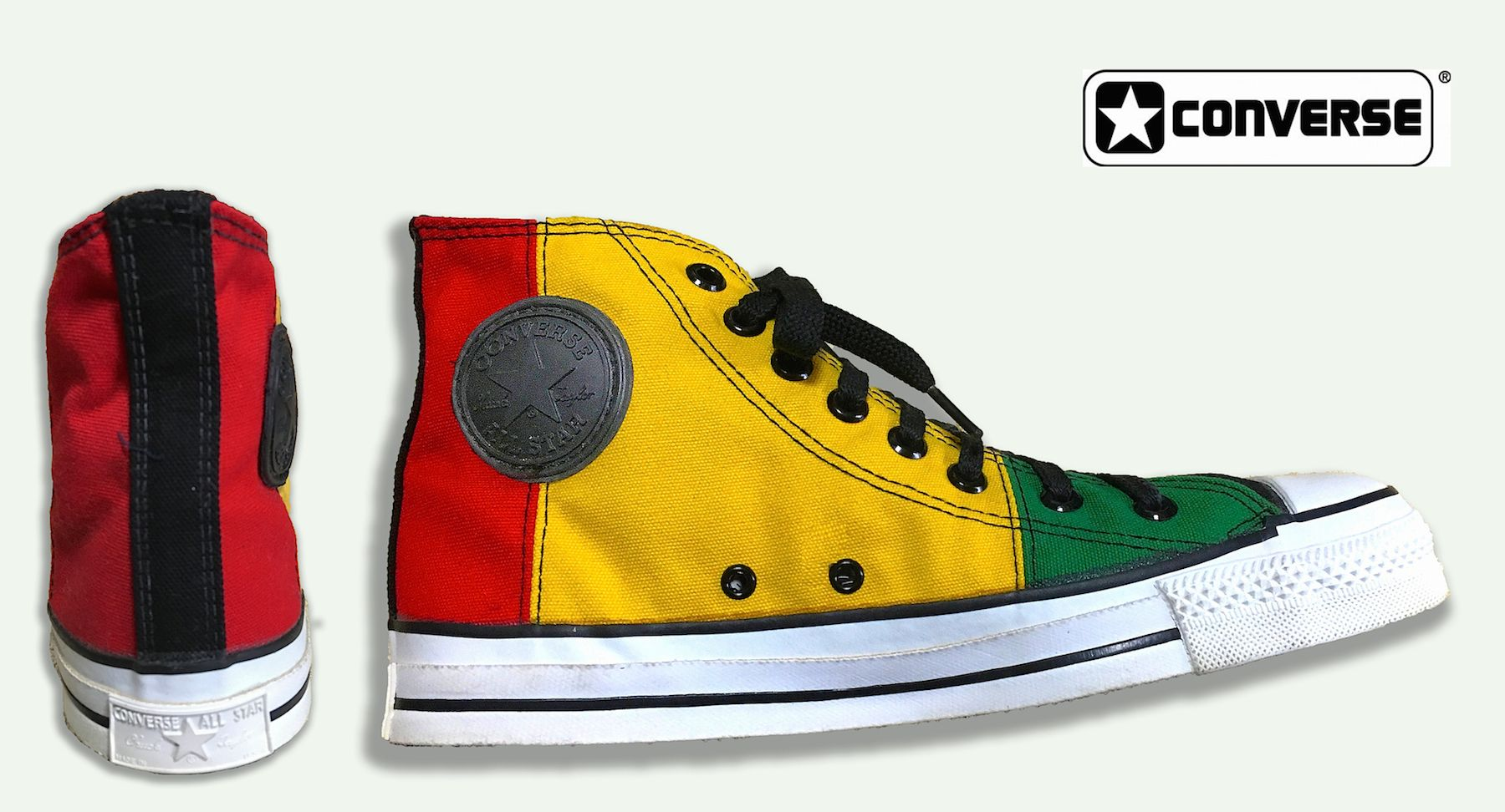 d73da585accc Rasta Color Converse Canvas Hi-Top late 80 s Model Made in USA ...