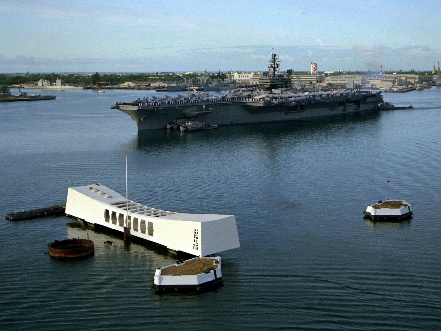 USS Ranger Arriving Pearl Harbor, passing at Honors USS