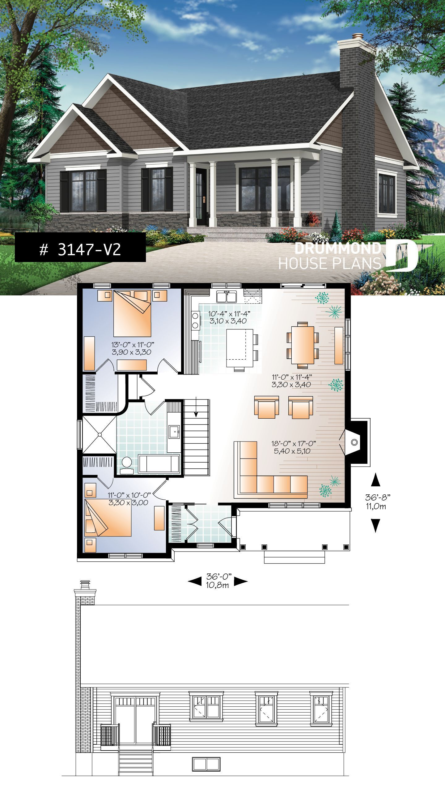 Small Affordable House Plan Transitional Bungalow House Plan With Open Fl In 2020 Bungalow House Plans Affordable House Plans Small Affordable House Plans