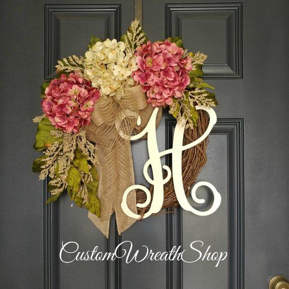 Diy Monogram Fall Wreath: Plumb Hydrangea Fall Wreath, Fall Monogram Wreath