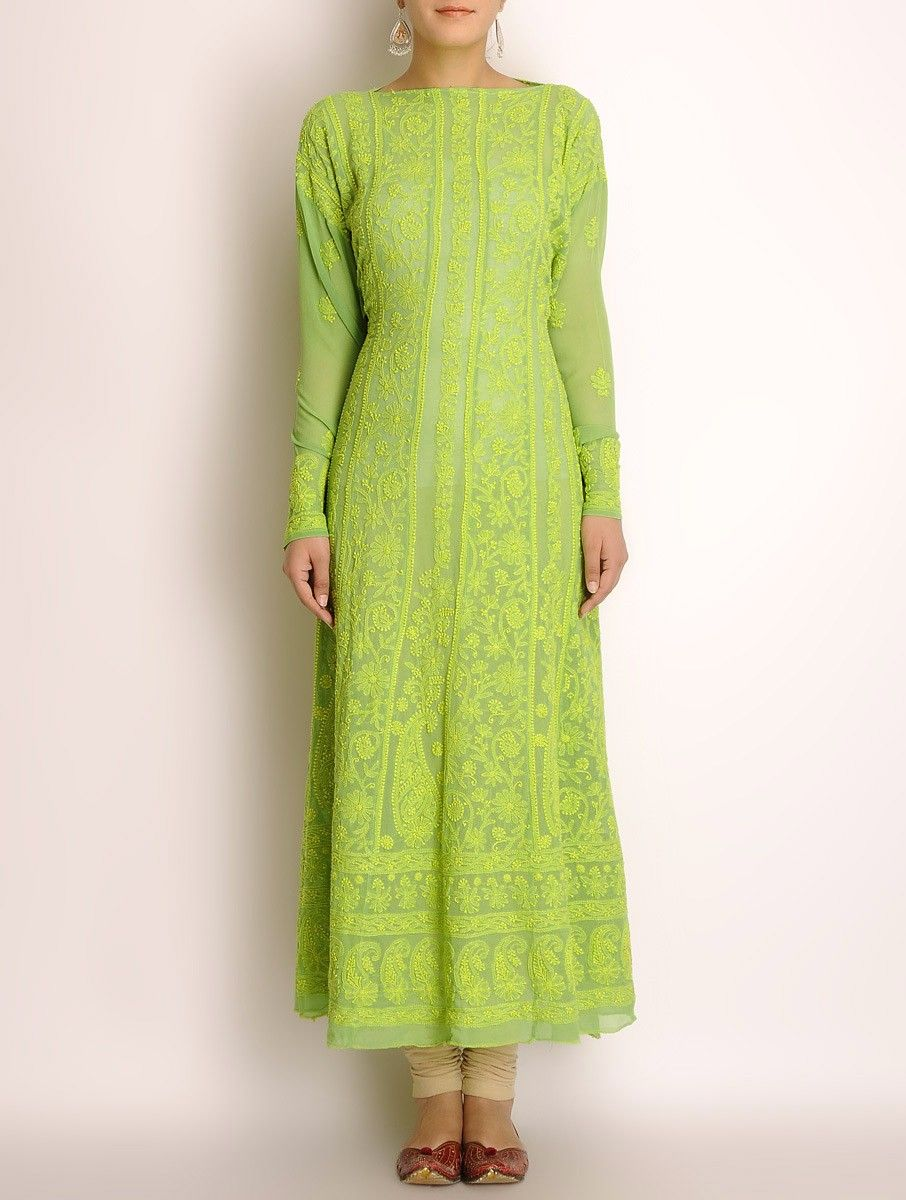 Buy Online At Annie S Annuals: Lime Green Georgette Chikankari Embroidered Kurta Fabric