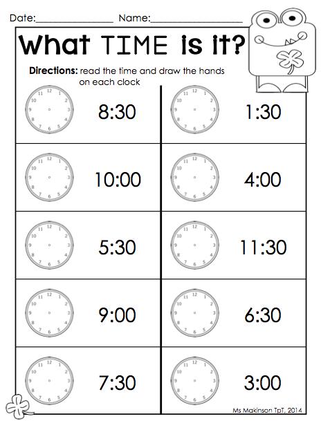 Printable time worksheets for kindergarten