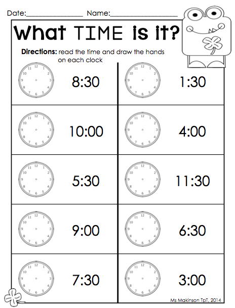 March Printables Kindergarten Literacy And Math Time Worksheets Telling Time Worksheets Homeschool Kindergarten