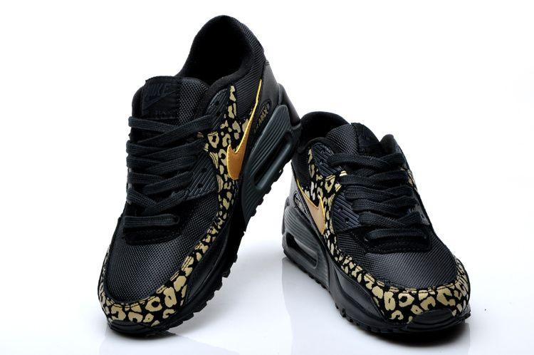 air max 90 w schuhe leopard schwarz gold