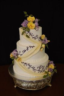 Purple And Yellow Wedding Cakes