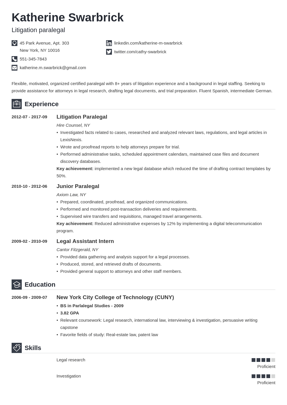 paralegal resume example template iconic in 2020 Resume