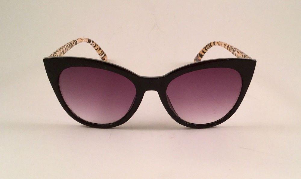 755294de44 Betsey Johnson Reading Sunglasses Black Large Cat Eye Animal Arm Readers  +1.50  BetseyJohnson