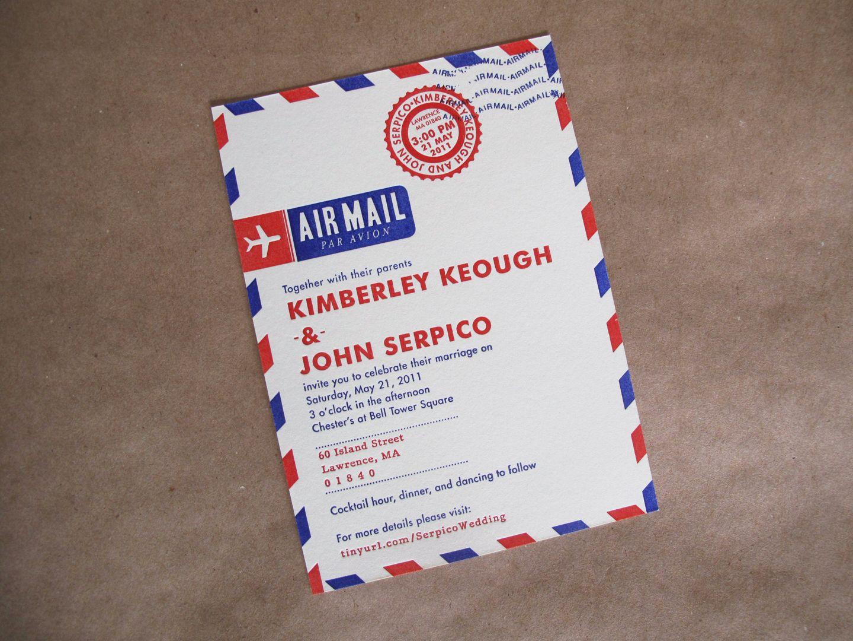 Kim Johns Letterpress Airmail Wedding Invitations Airmail