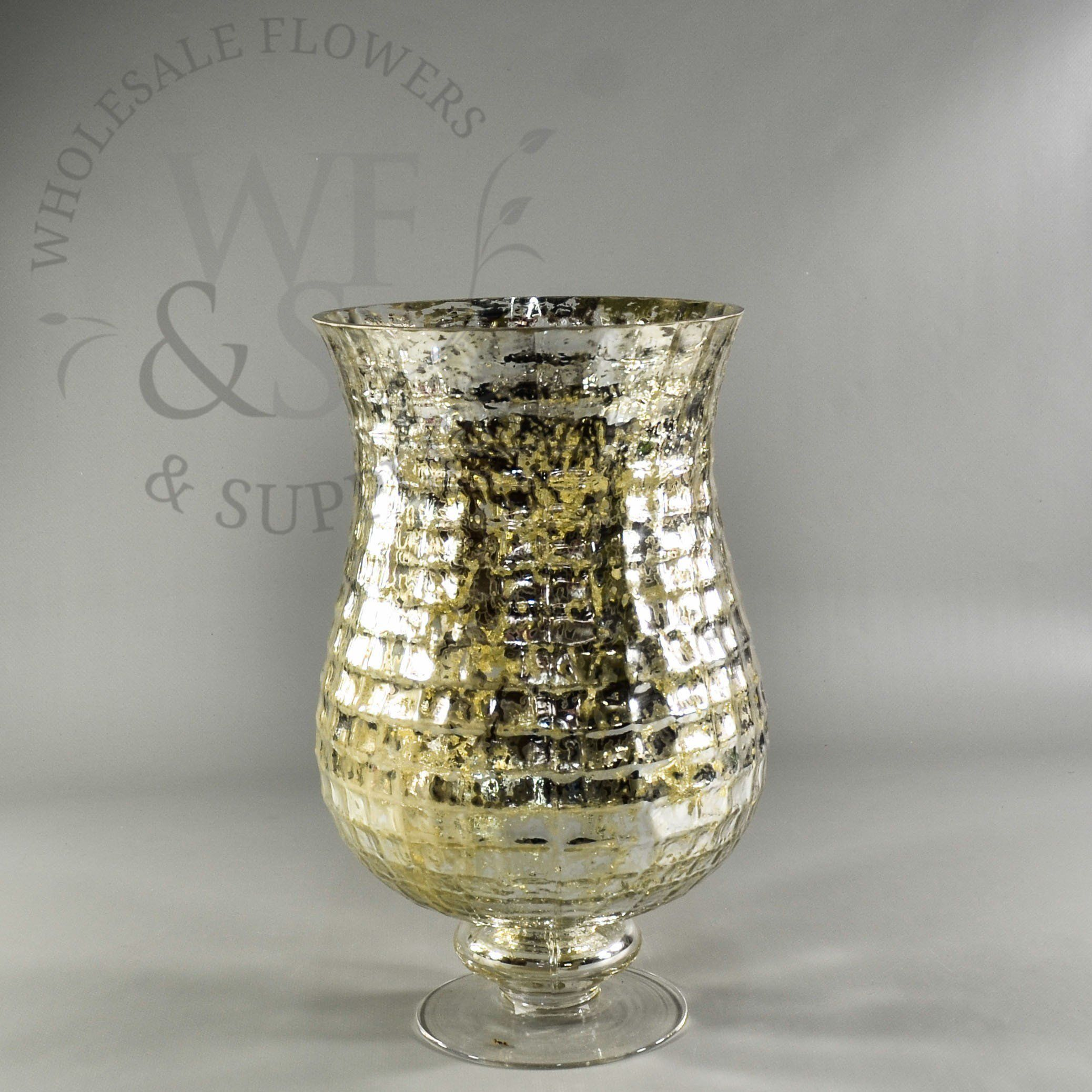 Pedestal Footed Mercury Glass Mosaic Vase | Wedding decor