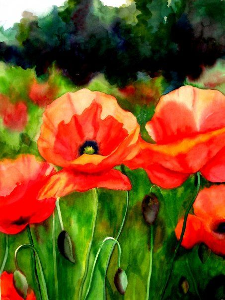 Poppy Trio (3 of 3), watercolor