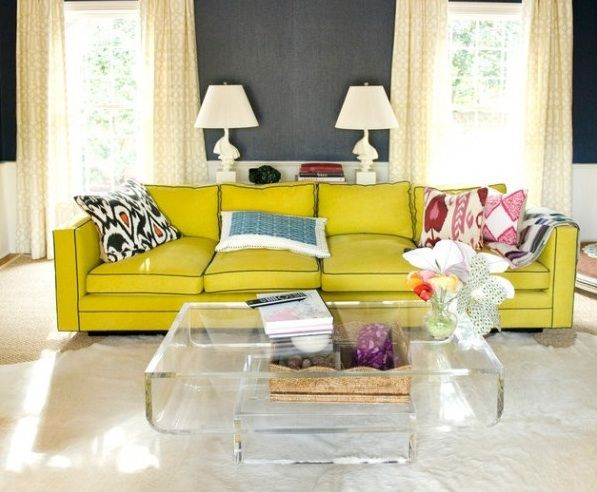 seriously chic interiors, yellow & grey, yellow sofa, dark grey ...