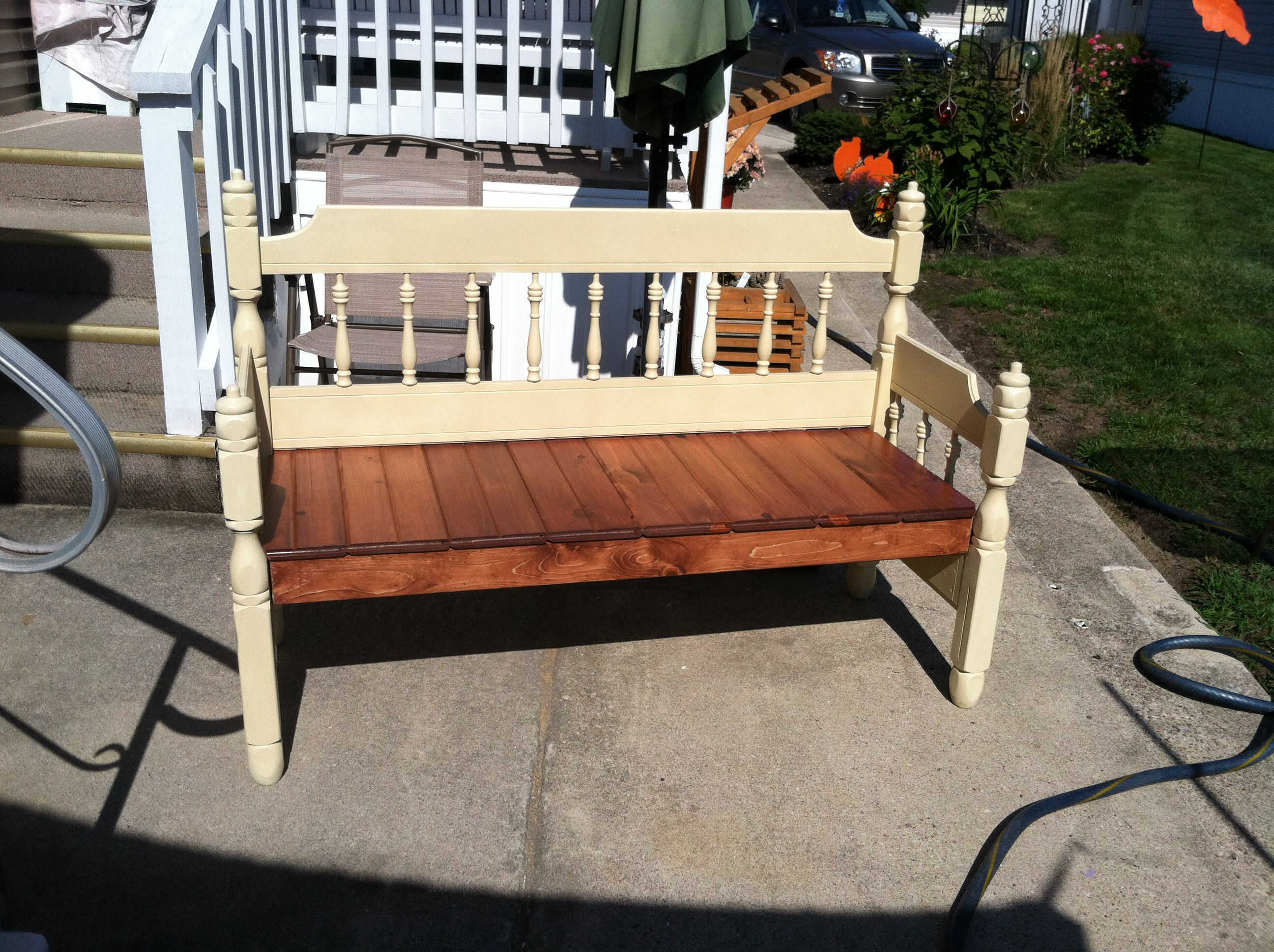 Headboard To Bench Bed Frame Bench Seat Is Made From Car Siding And Stained Cherry