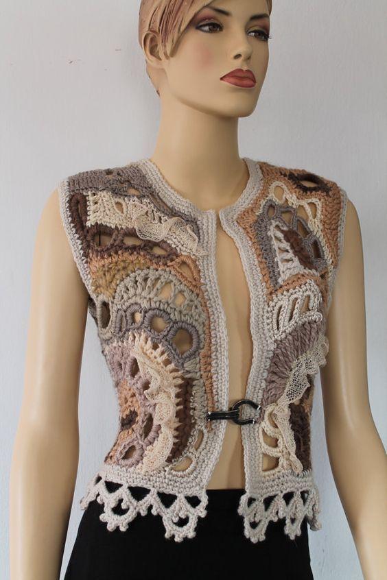 Chunky Freeform Crochet Vest - Camisola-Cardigan - Wearable Art - OOAK - pronto para enviar