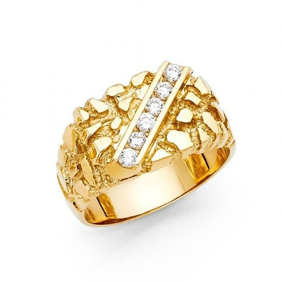 Men S 14k Yellow Big Bold Real Gold Nugget Ring With Man Made Diamonds Ebay Gold Nugget Ring Clean Gold Jewelry Man Made Diamonds