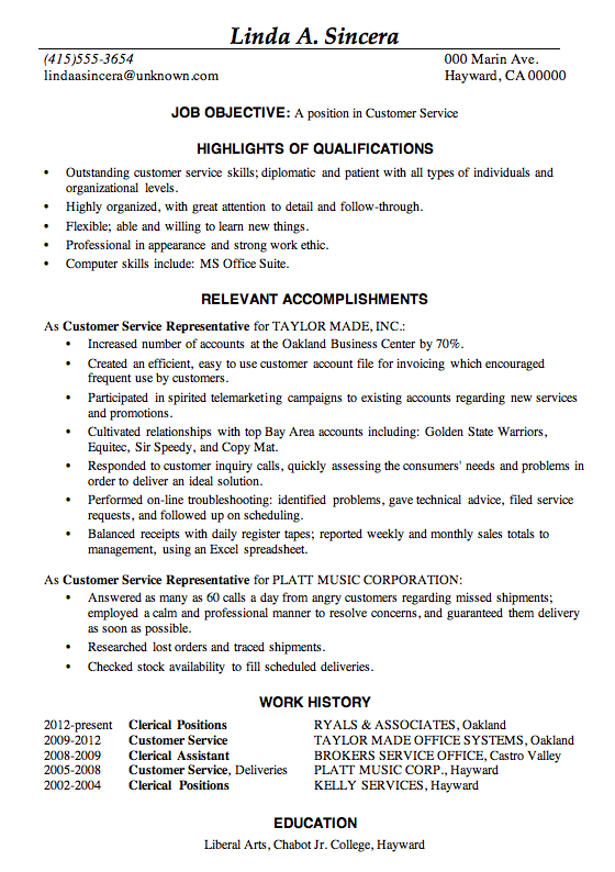 Resume sample customer service job. This sample resume is in the  Achievement resume format,