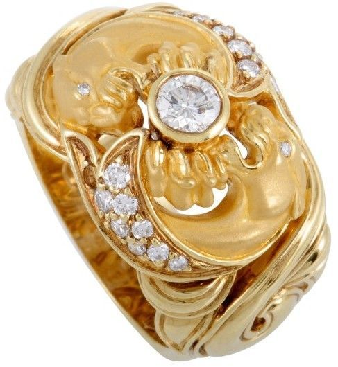 Carrera y Carrera Bestiario 18K Yellow Gold Diamond and Panther Wide Band Ring Size 6.5