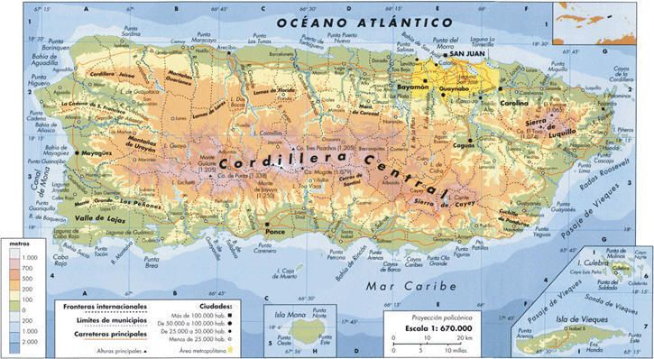 Mapa Fisico De Puerto Rico In 2020 Puerto Rico History Map