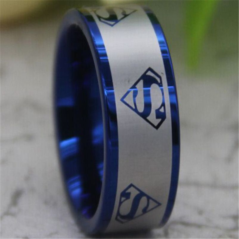 8MM Comfort Fit MultiSuperman Blue Pipe Mens Fashion Tungsten