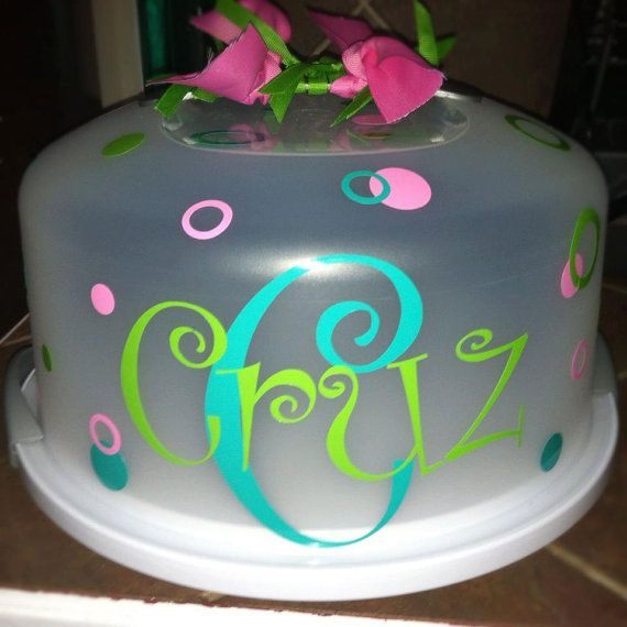 Personalized Cake Carrier by SBEM12 on Etsy & Personalized Cake Carrier by SBEM12 on Etsy | Cricut ~ Personalized ...