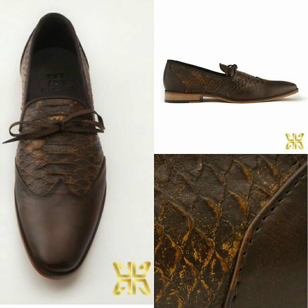 #styletips Coffee bean coloured fish scale skin textured leather #slipon perfect for #sundaybrunch  Add an edge with quirky #socks  #houseofAH #niraliruparel #achillesheelshoes #NlovewithAH
