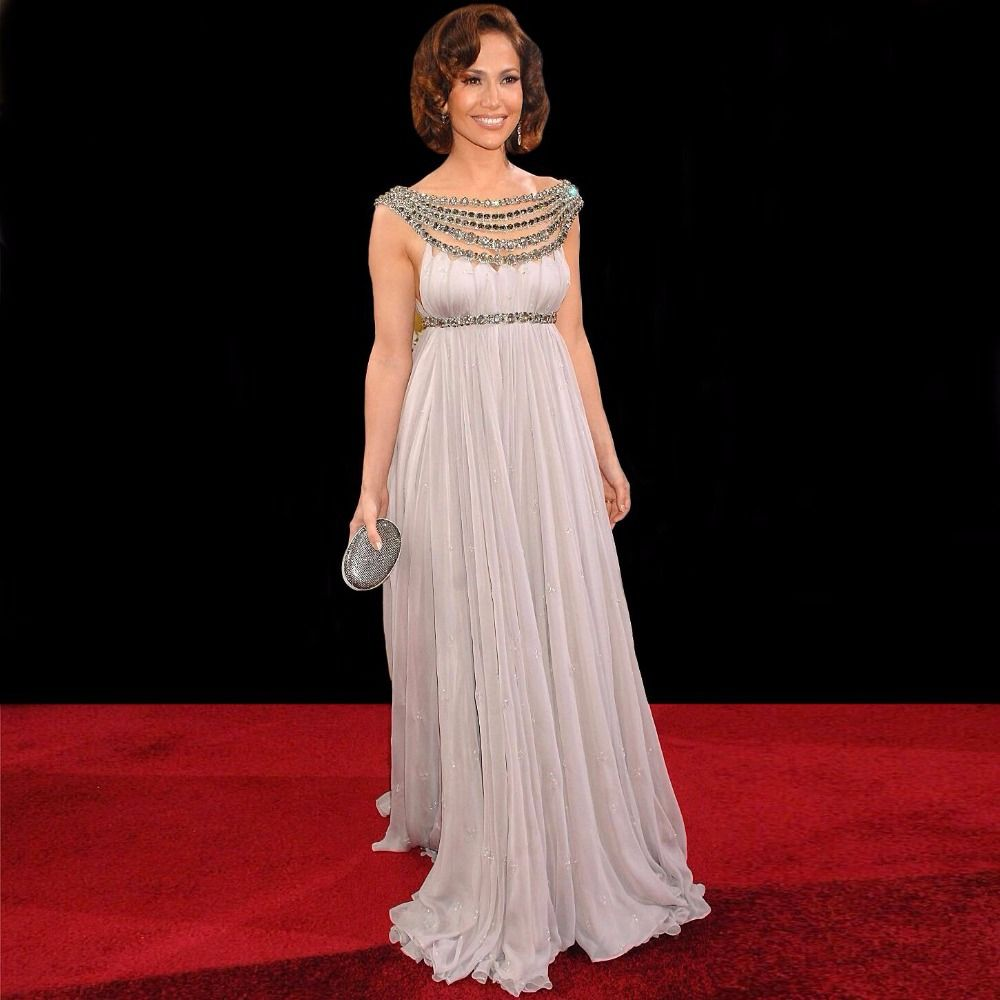Sparkle jennifer lopez red carpet dess scoop long chiffon with