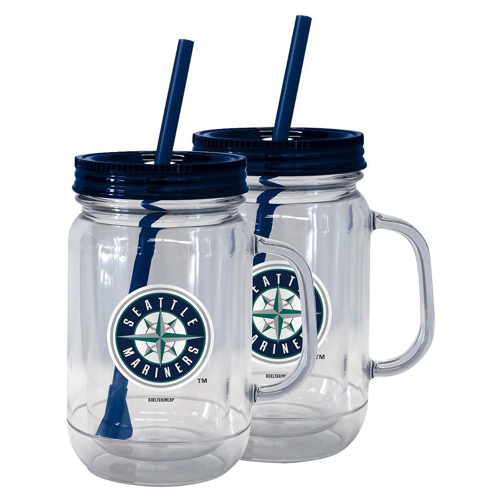 Mlb Boelter Brands 2 Pk Handled Straw Tumbler 20oz Seattle Mariners Plastic Mason Jars Mason Jar Tumbler Tumbler With Straw