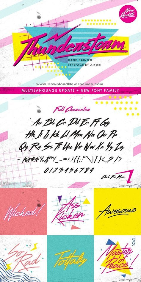 Thunderstorm typeface A handmade brush typeface inspired by 80s90s music retro disco grunge and pop culture uses for poster logo clothing books invitation logo etc