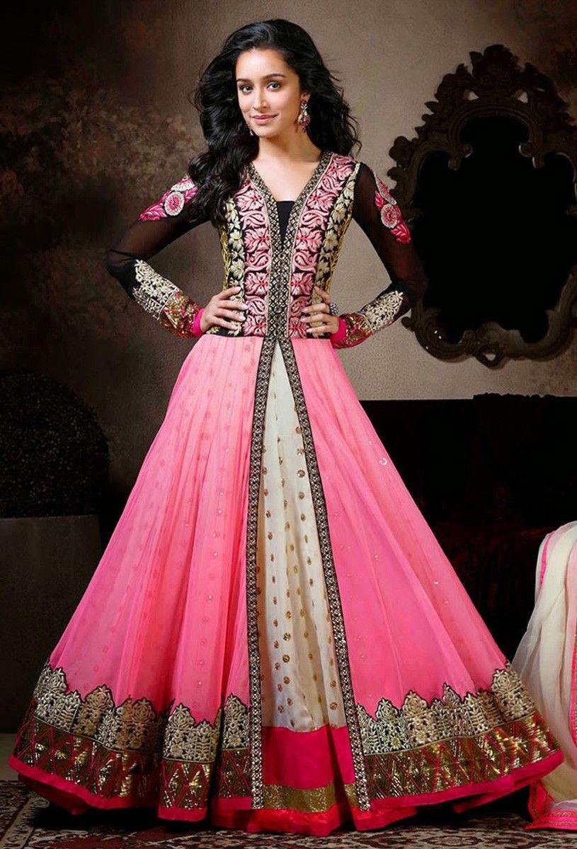 Georgette & Net Zari Work Pink Semi Stitched Long Anarkali Suit ...
